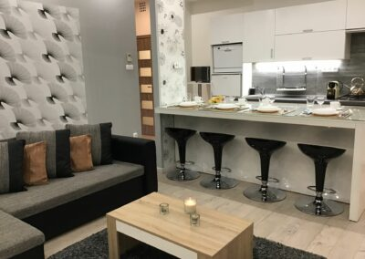 Gutenberg Apartments - 22-es Apartman: Nappali és konyha